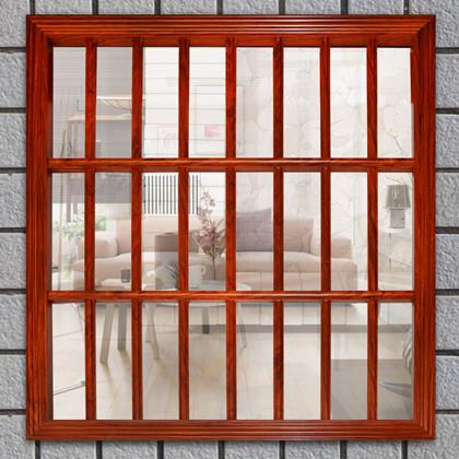 木纹色铝合金防盗窗